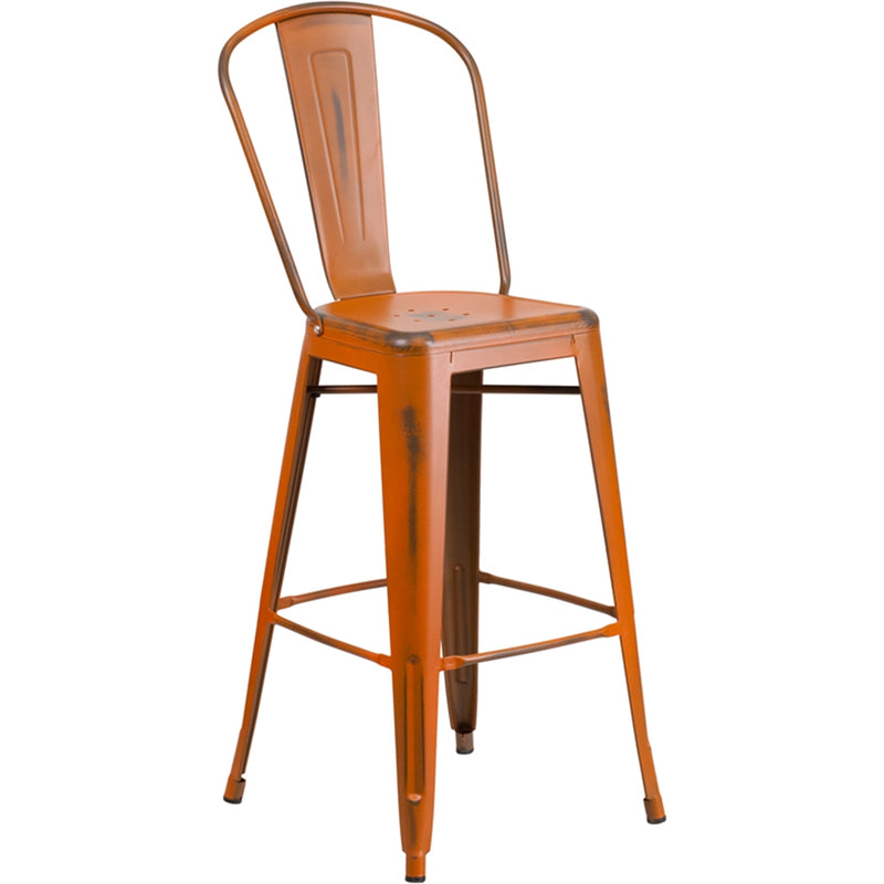 "30"" High Distressed Orange Metal Indoor-Outdoor Barstool with Back - Moda Seating Corp"