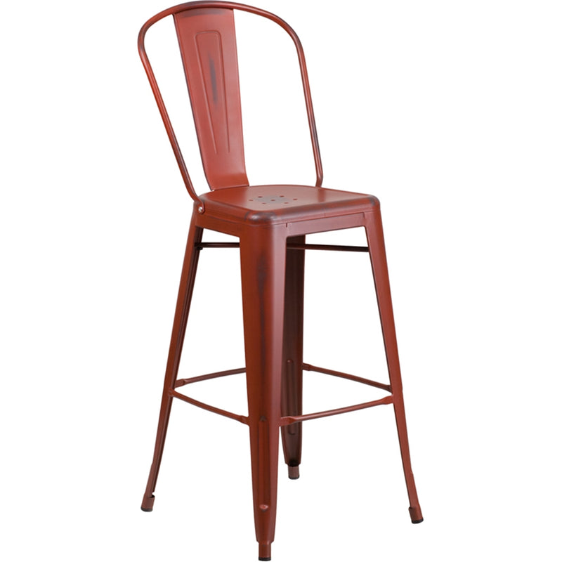 "30"" High Distressed Kelly Red Metal Indoor-Outdoor Barstool with Back - Moda Seating Corp"