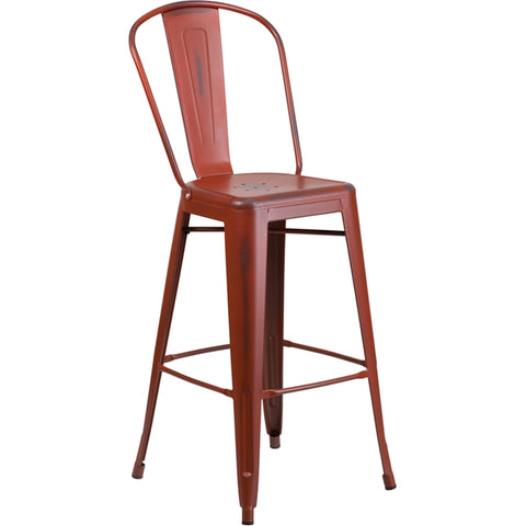 "30"" High Distressed Kelly Red Metal Indoor-Outdoor Barstool with Back"