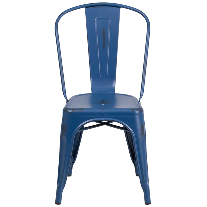 Distressed Antique Blue Metal Indoor-Outdoor Stackable Chair - Moda Seating Corp