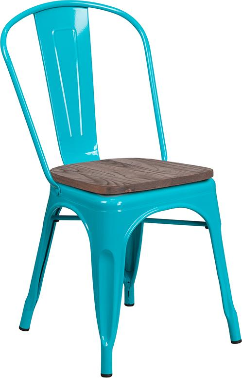 Crystal Teal-Blue Metal Stackable Chair with Wood Seat