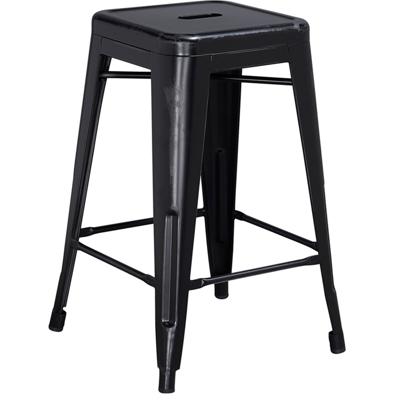 "24"" High Backless Distressed Black Metal Indoor-Outdoor Counter Height Stool - Moda Seating Corp"