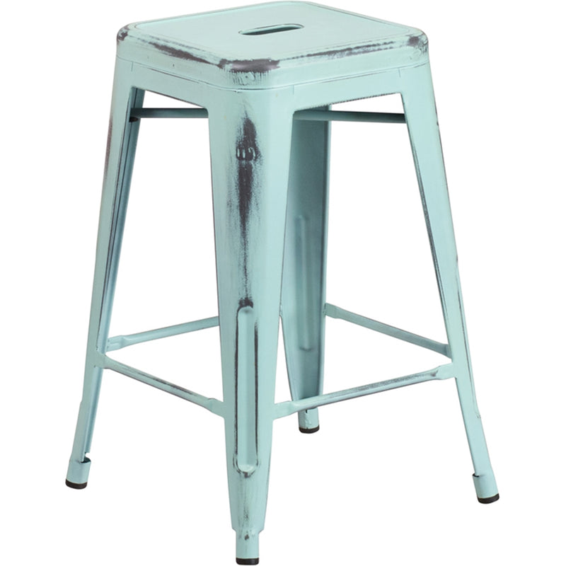 "24"" High Backless Distressed Green-Blue Metal Indoor-Outdoor Counter Height Stool - Moda Seating Corp"