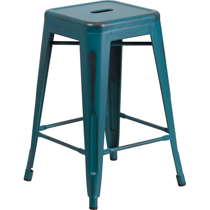 "24"" High Backless Distressed Kelly Blue-Teal Metal Indoor-Outdoor Counter Height Stool - Moda Seating Corp"