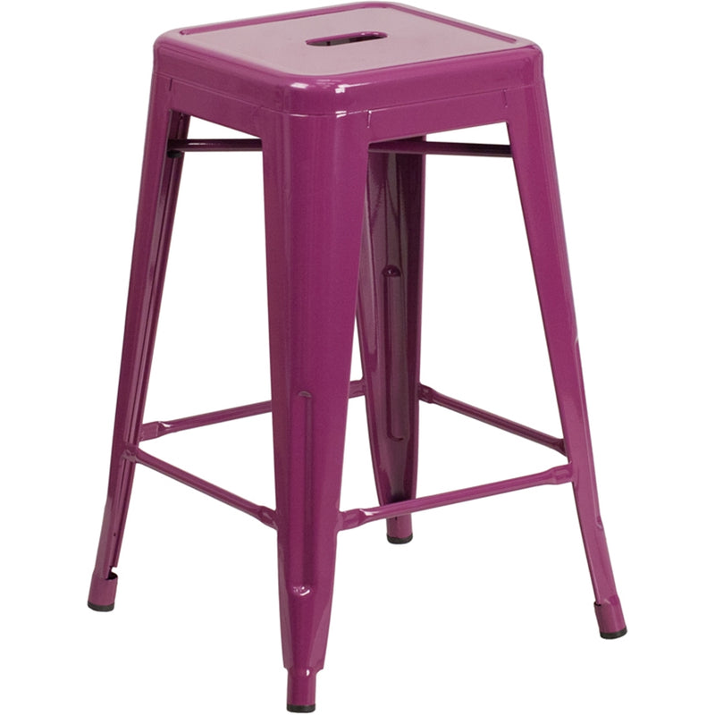 "24"" High Backless Purple Indoor-Outdoor Counter Height Stool - Moda Seating Corp"