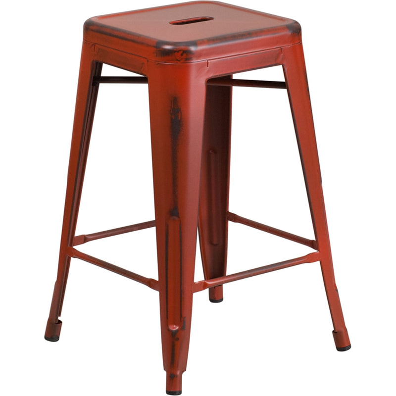 "24"" High Backless Distressed Kelly Red Metal Indoor-Outdoor Counter Height Stool - Moda Seating Corp"