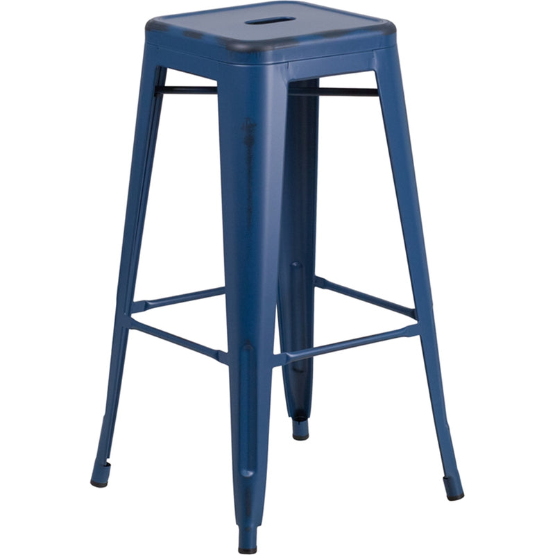 "30"" High Backless Distressed Antique Blue Metal Indoor-Outdoor Barstool - Moda Seating Corp"