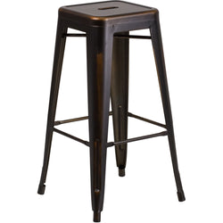 "30"" High Backless Distressed Copper Metal Indoor-Outdoor Barstool"