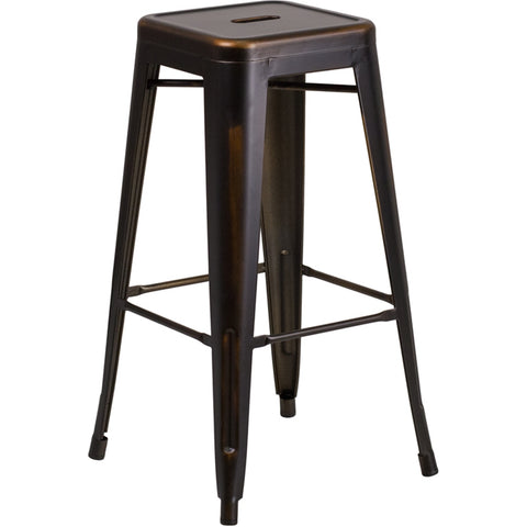 "30"" High Backless Distressed Copper Metal Indoor-Outdoor Barstool - Moda Seating Corp"