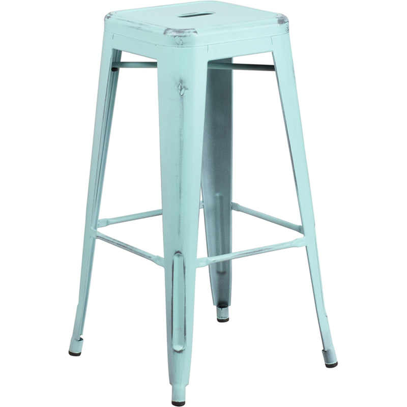"30"" High Backless Distressed Green-Blue Metal Indoor-Outdoor Barstool - Moda Seating Corp"