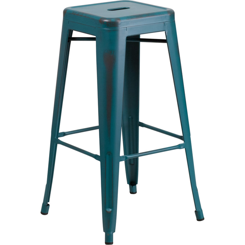 "30"" High Backless Distressed Kelly Blue-Teal Metal Indoor-Outdoor Barstool"