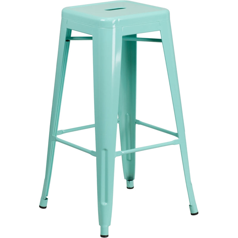 "30"" High Backless Mint Green Indoor-Outdoor Barstool"