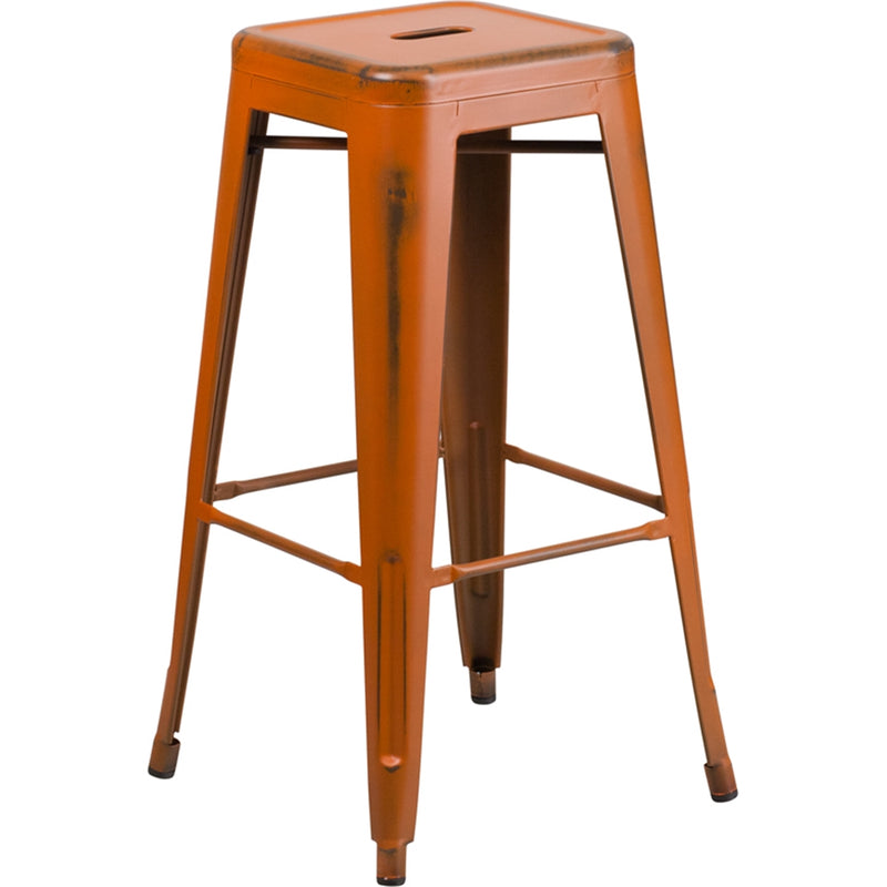 "30"" High Backless Distressed Orange Metal Indoor-Outdoor Barstool - Moda Seating Corp"