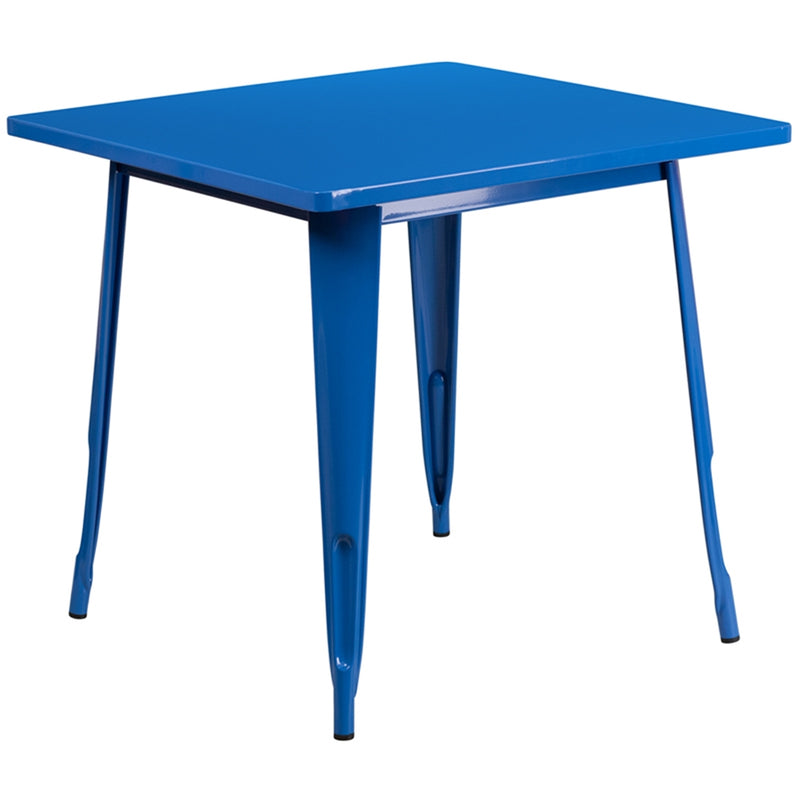 "31.5"" Square Blue Metal Indoor-Outdoor Table - Moda Seating Corp"