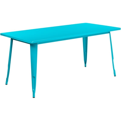 "31.5"" x 63"" Rectangular Crystal Teal-Blue Metal Indoor-Outdoor Table - Moda Seating Corp"