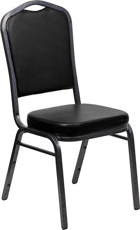 HERCULES Series Crown Back Stacking Banquet Chair in Black Vinyl - Silver Vein Frame - Moda Seating Corp