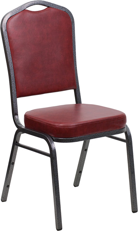 HERCULES Series Crown Back Stacking Banquet Chair in Burgundy Vinyl - Silver Vein Frame - Moda Seating Corp