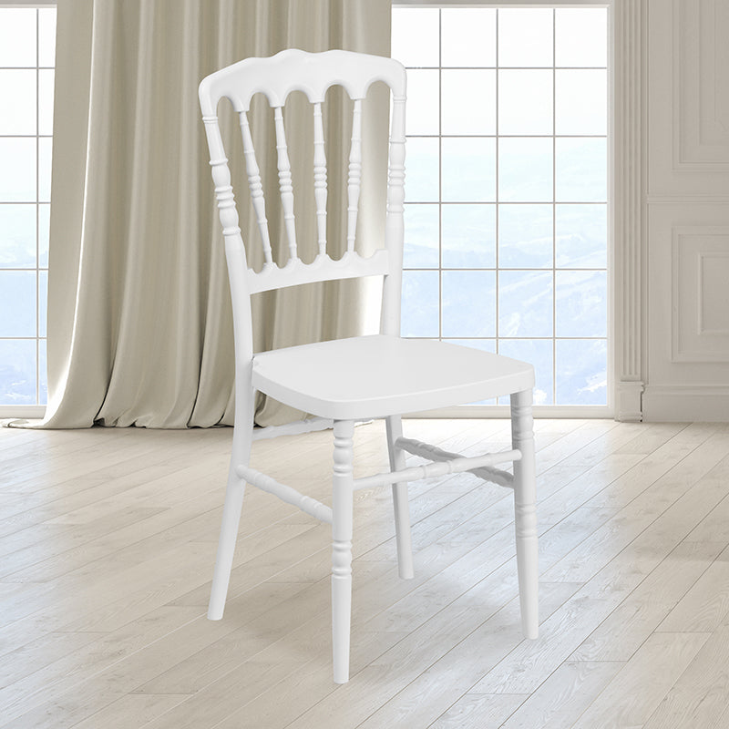 HERCULES Series White Resin Stacking Napoleon Chair