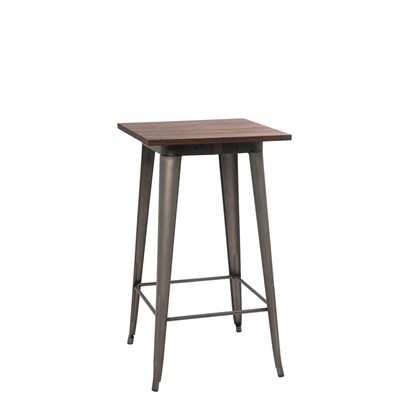 "24""X24"" Indoor Walnut Elm Wood Restaurant Table With Bar Height Gun Color Steel Base - Moda Seating Corp"
