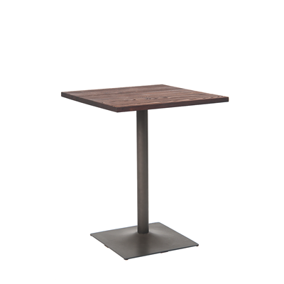 "24"" X 24"" Square Indoor Walnut Elm Wood Restaurant Table With Gun Color Steel Base - Moda Seating Corp"