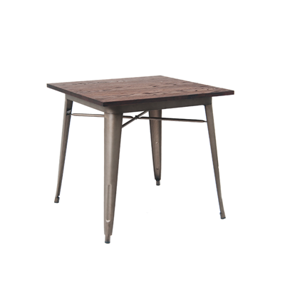 "31"" X 31"" Indoor Walnut Elm Wood Restaurant Table With 4 Piece Gun Color Steel Base - Moda Seating Corp"