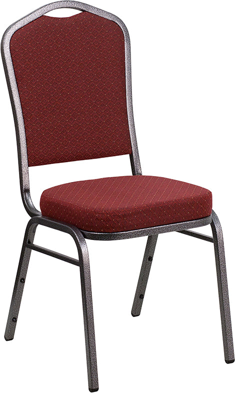 HERCULES Series Crown Back Stacking Banquet Chair in Burgundy Patterned Fabric - Silver Vein Frame - Moda Seating Corp
