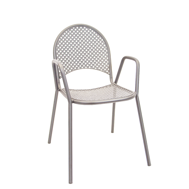 Outdoor Grey Metal Powder Coated Restaurant Chair OF01G-DQSM - Moda Seating Corp