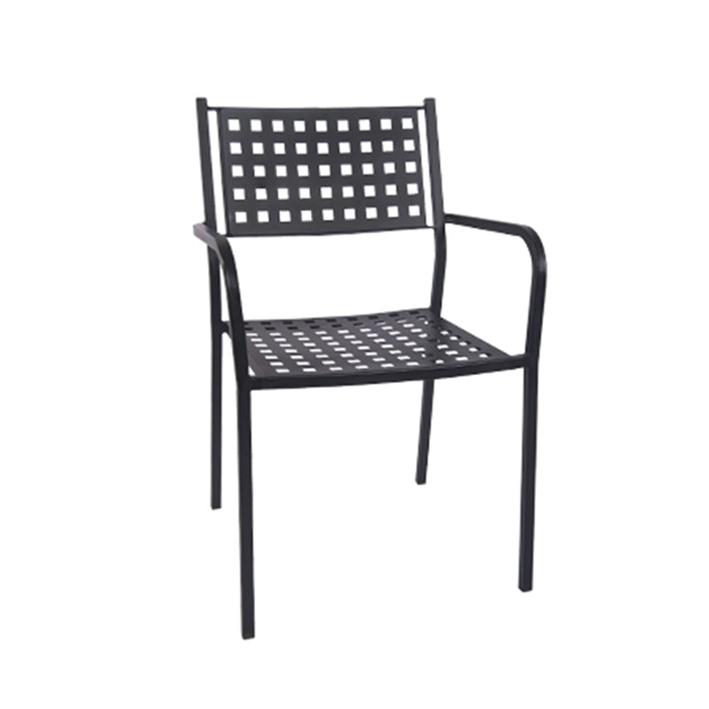 Black Metal Patio Restaurant Stack Chair w/ Armrest