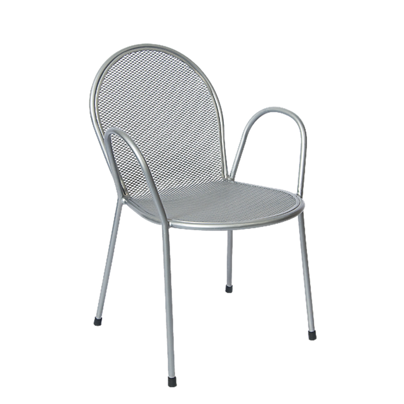 Silver Finish Metal Powder Coated Outdoor Restaurant Chair - Moda Seating Corp