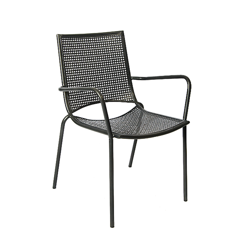 Iron Outdoor Stackable Restaurant Armchair with Punched Hole Mesh - Moda Seating Corp
