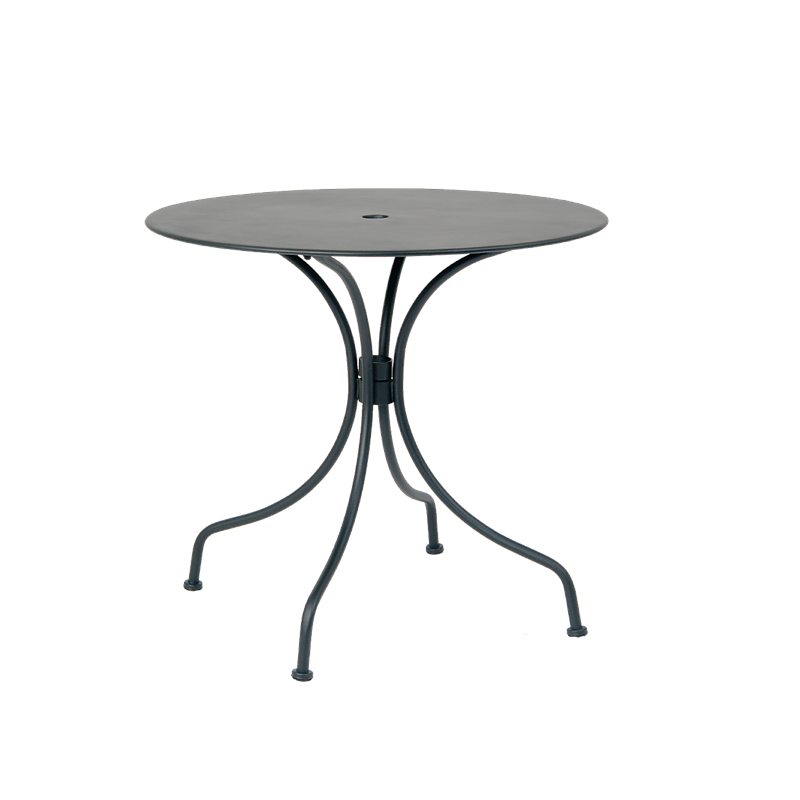 "30"" Round Black Metal Outdoor Restaurant Table with 2"" Umbrella Hole - Moda Seating Corp"