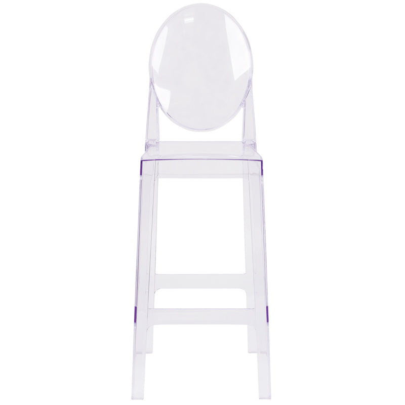 Ghost Barstool with Oval Back in Transparent Crystal