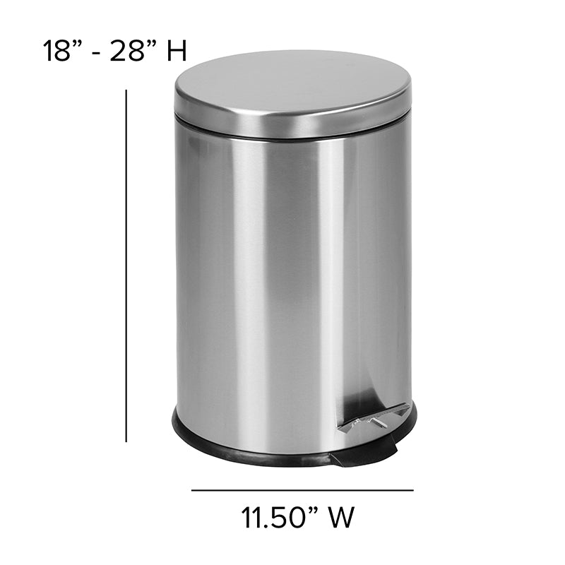 Stainless Steel Fingerprint Resistant Soft Close, Step Trash Can - 20L (5.3 Gallons)