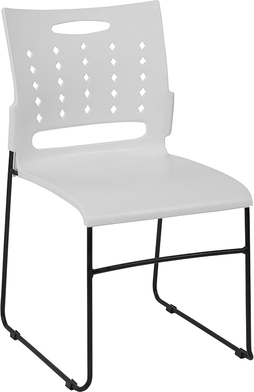 HERCULES Series 881 lb. Capacity White Sled Base Stack Chair with Air-Vent Back - Moda Seating Corp