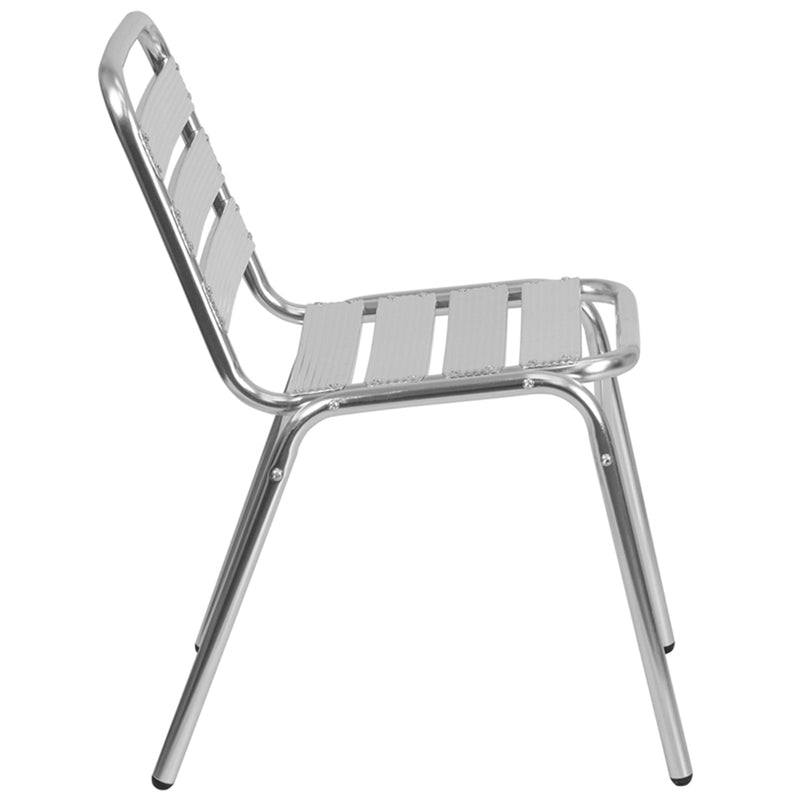 Commercial Aluminum Indoor-Outdoor Restaurant Stack Chair with Triple Slat Back - Moda Seating Corp