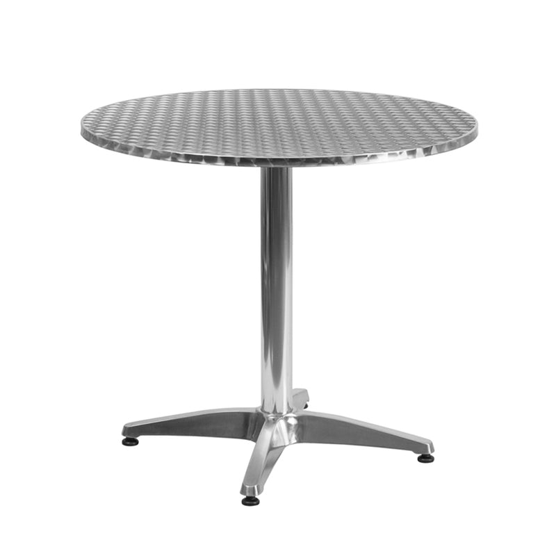 "31.5"" Round Aluminum Indoor-Outdoor Table with Base"