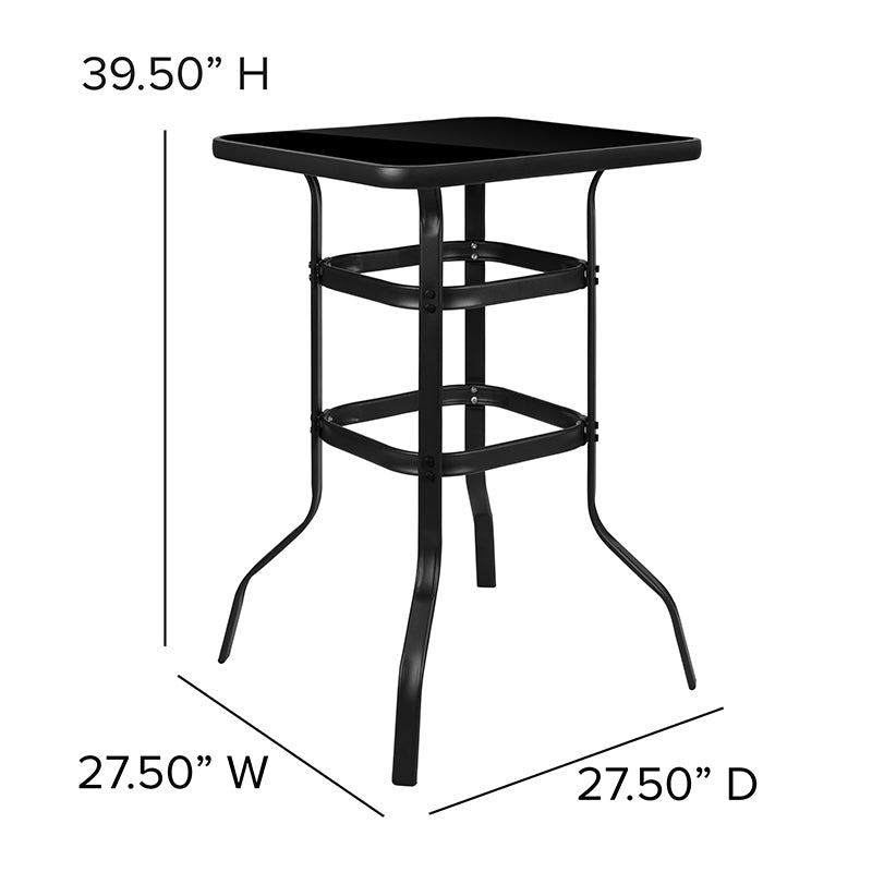 "27.5"" Square Black Tempered Glass Bar Height Metal Patio Bar Table"