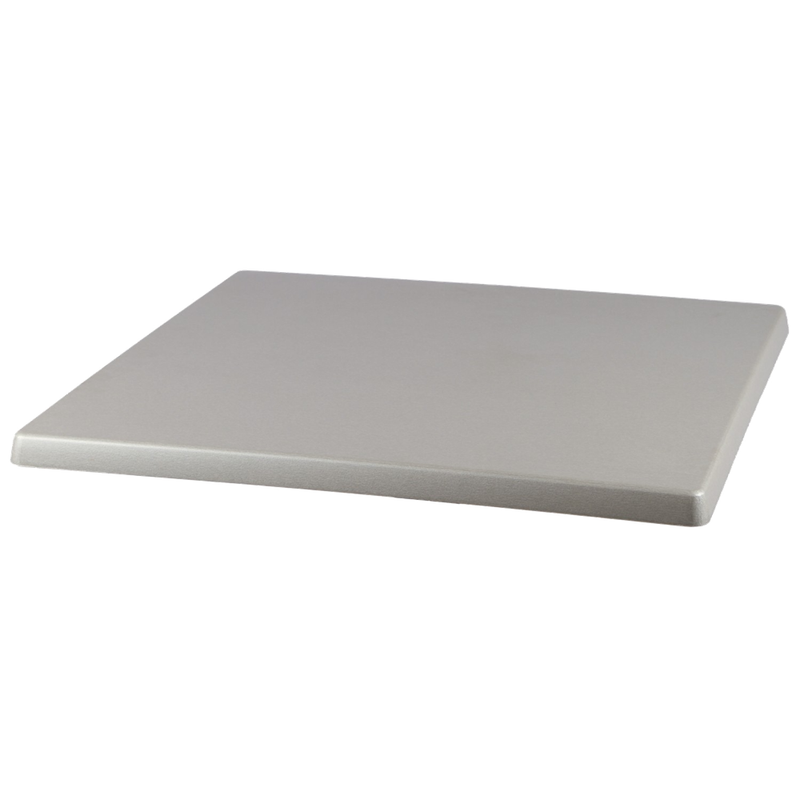 "BRUSHED SILVER 28"" x 28"" Indoor/ Outdoor Weather Resistant Restaurant Table Top - Moda Seating Corp"