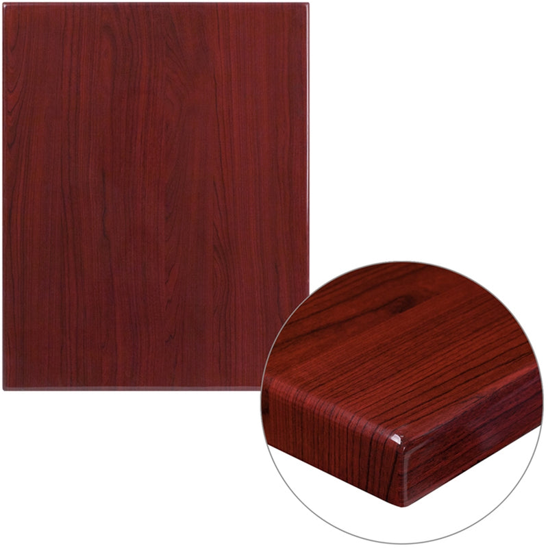 "24"" x 30"" High-Gloss Mahogany Resin Table Top with 2"" Thick Drop-Lip - Moda Seating Corp"