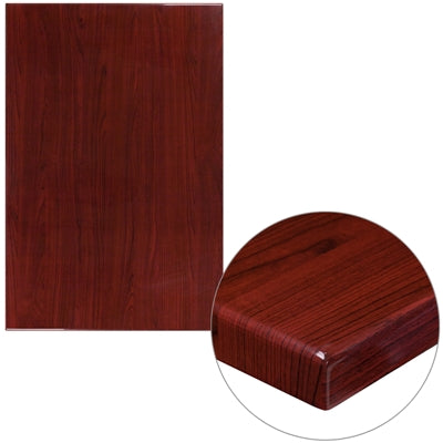 "30"" x 45"" High-Gloss Mahogany Resin Table Top with 2"" Thick Drop-Lip - Moda Seating Corp"