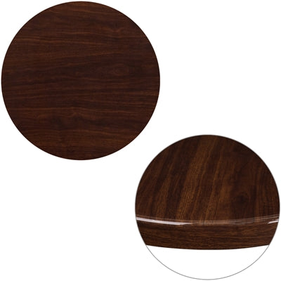 "24"" Round High-Gloss Walnut Resin Table Top with 2"" Thick Drop-Lip - Moda Seating Corp"