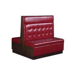 Veneer Double Restaurant Booth with Red Tufted Vinyl