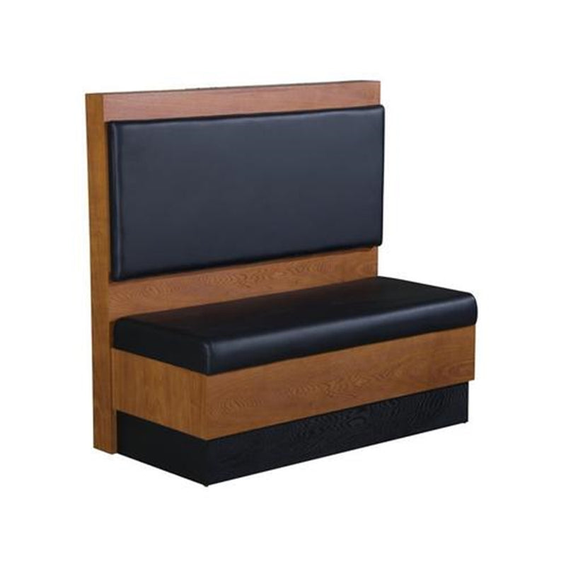 Cherry Veneer Single Restaurant Booth with Black Vinyl - Moda Seating Corp