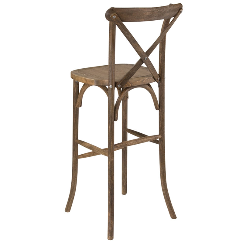 HERCULES Series Dark Antique Wood Cross Back Barstool - Moda Seating Corp