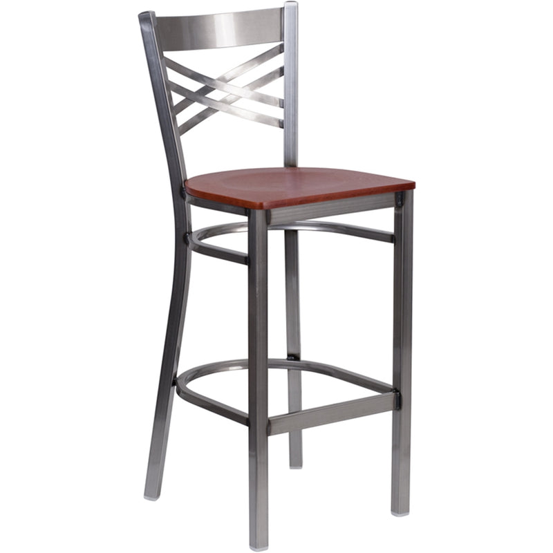 "HERCULES Series Clear Coated ""X"" Back Metal Restaurant Barstool - Cherry Wood Seat - Moda Seating Corp"