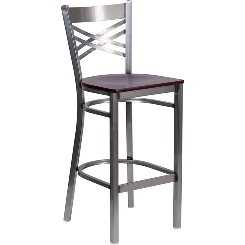 HERCULES Series Clear Coated X Back Metal Restaurant Barstool - Mahogany Wood Seat