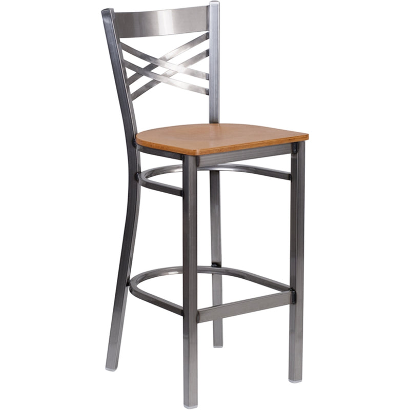 HERCULES Series Clear Coated X Back Metal Restaurant Barstool - Natural Wood Seat