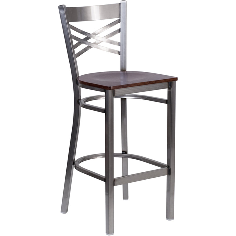 "HERCULES Series Clear Coated ""X"" Back Metal Restaurant Barstool - Walnut Wood Seat - Moda Seating Corp"