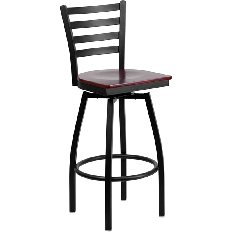 HERCULES Series Black Ladder Back Swivel Metal Barstool - Mahogany Wood Seat - Moda Seating Corp