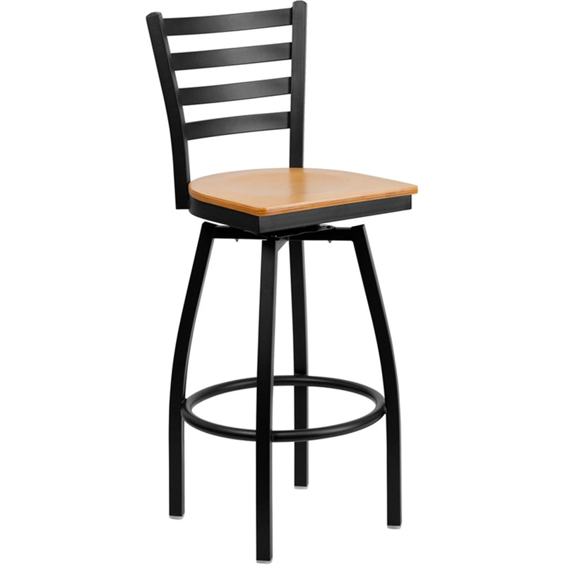 HERCULES Series Black Ladder Back Swivel Metal Barstool - Natural Wood Seat